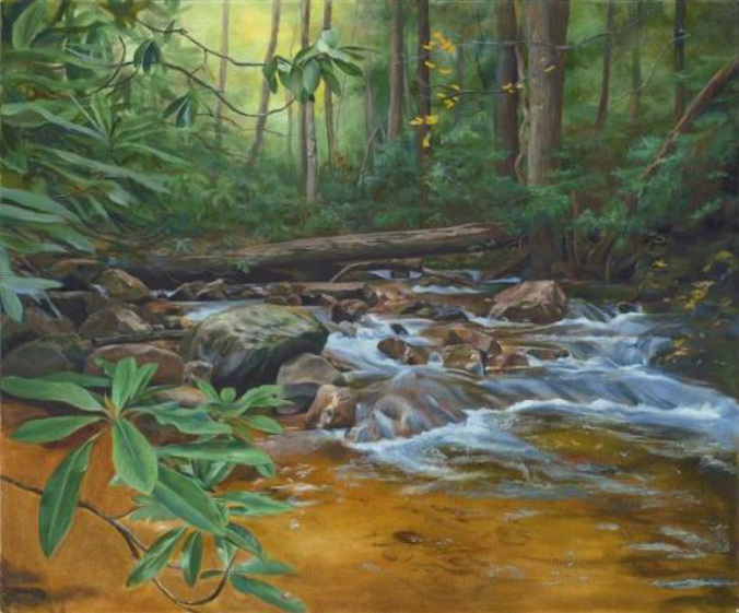 A creek rushes on the Appalachian Trail near Hampton, Tennessee. Lush green laurels lead the eye toward the skyline. A log has fallen across the creek. The water is transparent and painted with oil glazes.