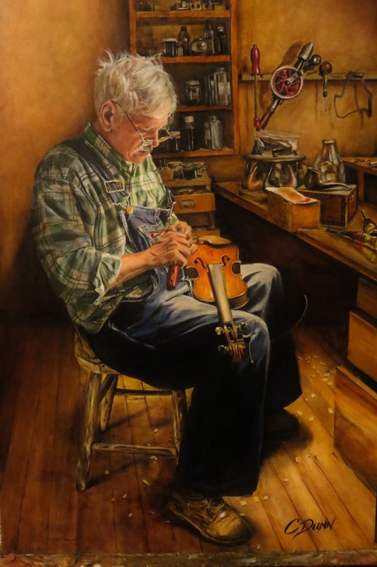 Oil Painting of a Fiddle maker, old world craftsman, at work in his workshop. There are hand tools on the countertop. He wears a flannel shirt and bib overalls.