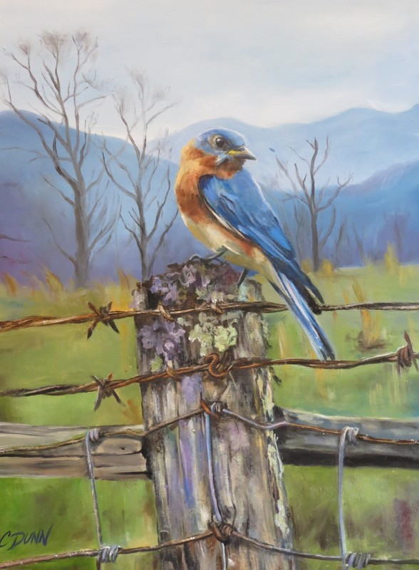 Painting of Bluebird on Fencepost in oil and silver leaf by Cristy Dunn